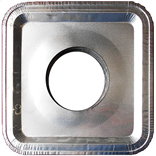 Top Grade Aluminum Foil Square Stove Burner Covers - Universal Size Disposable Bib Liners for Gas Burner (Pack of 16) (Aluminum Stove Burner Protectors compare prices)