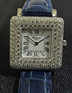 New Ladies Chopard Solid 18k White Gold Happy Sport Top Wesselton Flawless Diamonds Watch