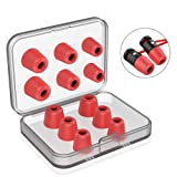 [6 Pairs] Earphone Tips New Bee 12pcs Premium Replacement Earbud Tips Blocking Out Ambient Noise Memory Foam Earbuds Inner 4.9mm for Headphones with 5mm-7mm Tips (Red, S/M/L) (Color: Red 1)