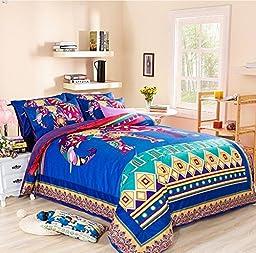 LELVA Colorful Cartoon Elephant Pattern Bedding Set Kids Bedding Set Children\'s Duvet Cover Set Coral Velvet Bdding Twin Full Queen Size (Fitted sheet, Full)