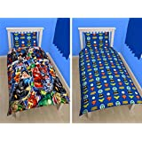 Official Justice League 'Invincible' Single Rotary Reversible Duvet Set New Gift (JLSD1)