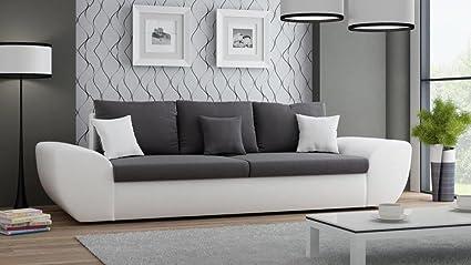 Big Sofa mit Schlaffunktion und Bettkasten in weiß Sitzfläche in anthrazit Ruckenecht bezogen mit Wellenfederpolsterung, B/H/T ca. 272/90/96 cm