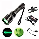 X.YShine LED Hunting Flashlight, HS-802 250 Yards Cree Q5 Coyote Hog Green Light Flashlight with Remote Tactical Pressure Switch+ Barrel Mount+ 18650 Rechargeable Battery+ Charger for Hunting, Fishing (Color: Green Light)