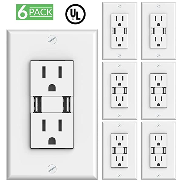 6 PACK High Speed USB Charger and Duplex Receptacle 15-Amp 3.1A ... UL Listed