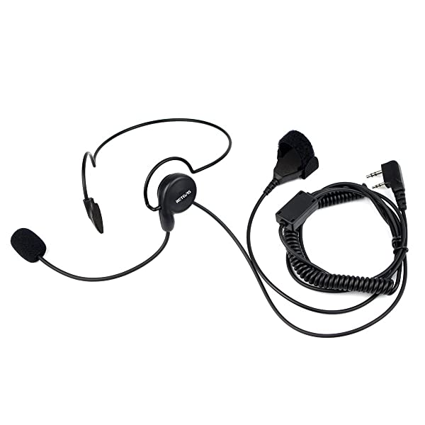 Retevis 2 Pin Overhead Headset with Microphone Walkie Talkies Earpiece with Finger PTT Compatible with Baofeng BF-888S UV-5R Retevis H-777 RT21 RT22 2 Way Radios(1 Pack) (Color: Black)