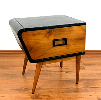 Java Retro Kommode aus Teakholz | Vintage Schubladenschrank aus Massivholz | Nachtschrank der Marke Asia Wohnstudio | Teakholzschrank | Schlafzimmer Kommode | Linke Seite (Handarbeit)