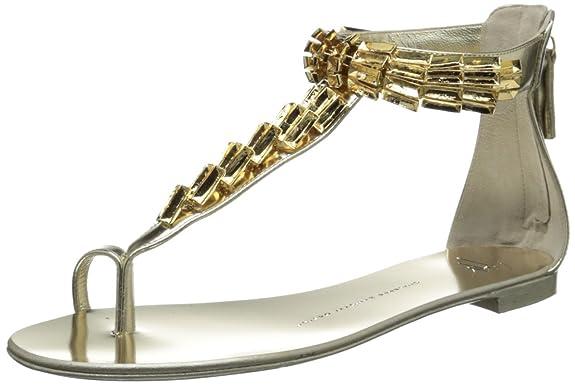 Giuseppe Zanotti Women's Gold T-Strap Flat Sandal,Platino,6 M US