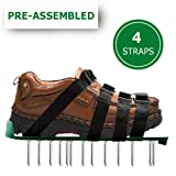 OXYVAN Lawn Aerator Shoes Universal Pre Assembled Spiked Aerating Sandals with 4 Adjustable Metal Straps for Soil and Grass Health Care … (Color: Green)