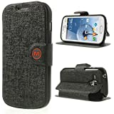 Smays M Leather Wallet Protective Case with Stand for Samsung Galaxy S Duos S7562 S7560 S7560M / Duos 2 S7582 S7580 (Black)