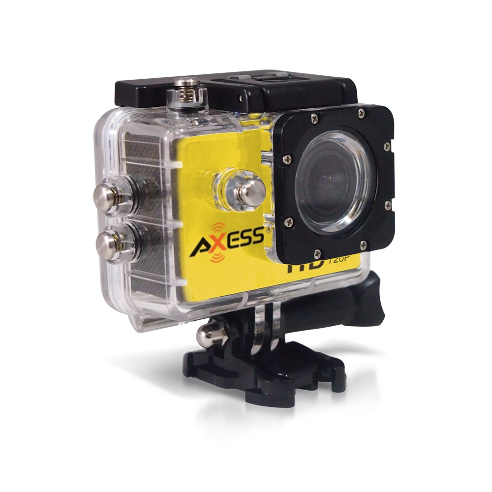 Axess CS3601-YL Sports Action Camera DVR Recorder 720P, Up to 5MP, 140 degree HD Wide-angle with Water Proof Housing, Different Connection Accessories and Micro USB 2.0 in Yellow