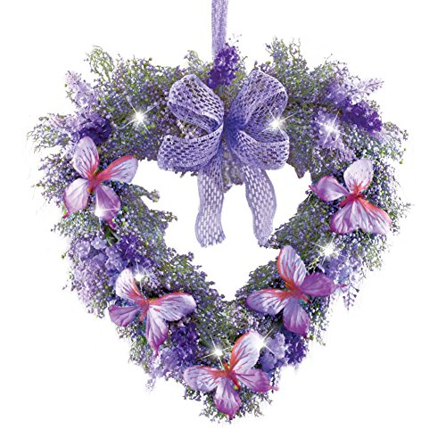 Lavender Heart Butterfly Wreath Door Decor