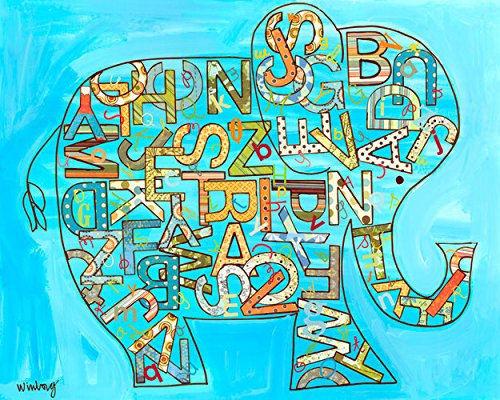 Oopsy Daisy Blue Alphabet Elephant Stretched Canvas Wall Art by The Winborg Sisters, 30 by 24-Inch
