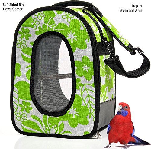Soft Sided Bird / Parrot Travel Carrier (Green / White, Large)
