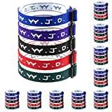 50 WWJD Bracelets - What Would Jesus Do Woven Wristbands Per Pack - Religious Christian WWJD Bracelet for fundraisers Red, Green, Blue, Black and Purple Colors Perfect for men women boys and girls