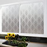 Coavas Classic Flower Decorative Films Windows Films For Glass Door/Mall Glass Wall /kitchen/Bath room/Sitting Room/Privacy Window,Avoid Glass Burst,(17.7-Inch by 78.7-Inch)