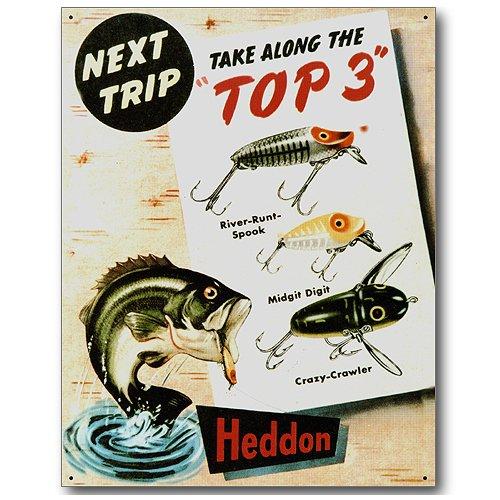 Heddon Bass Fishing Lures Tin Sign