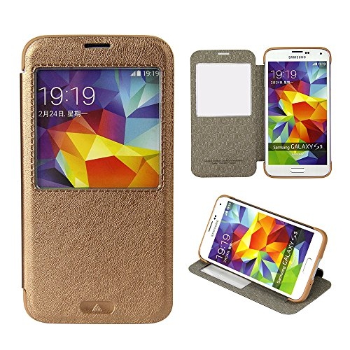 Moon Monkey Classical Ultra-Thin Vintage Intelligent Window Folio Flip Leather Cover Case For Samsung Galaxy S5 (Coffee)