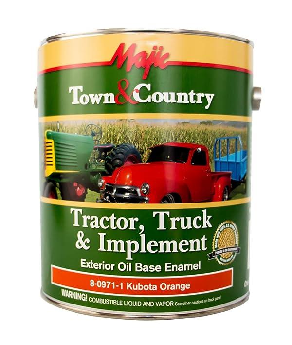 Majic Paints 8-0971-1 Town & Country Tractor, Truck & Implement Oil Base Enamel Paint, 1-Gallon, Kubota Orange (Color: Kubota Orange, Tamaño: Gallon)