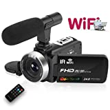 Camcorder Digital Video Camera, WiFi Vlog Camera Camcorder with Microphone IR Night Vision Full HD 1080P 30FPS 3'' LCD Touch Screen Vlogging Camera for YouTube with Remote Control (Color: V2C)