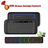 H20 Wireless Mini-Keyboard, Remote Control, Yongf Two-Sided Touch Backlit H20 Keyboard with Infrared Learning, 2.4GHz Remote & Mouse Gaming Keyboard for Android TV Box, PC, Media Player (Color: H20 Mini Keyboard)