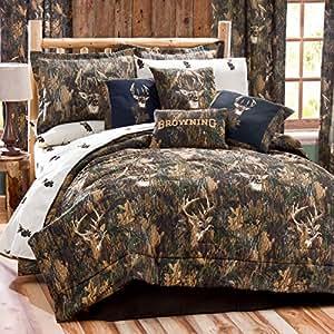 camo deer 4 piece comforter set size king. Black Bedroom Furniture Sets. Home Design Ideas