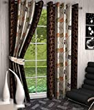 Divine Floral Polyester Curtains (Set of 4), (Brown, 5 Feet x 4 Feet)