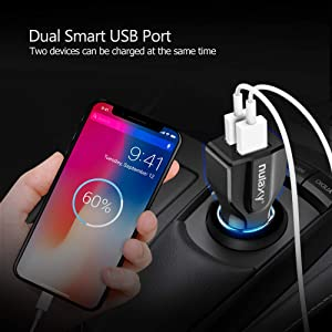 Car Charger, Nulaxy 4.8A Car Charger Dual USB Port Fast Car Charging with Smart Identification Compatible with iPhone, iPad, Android Phones and Tablet