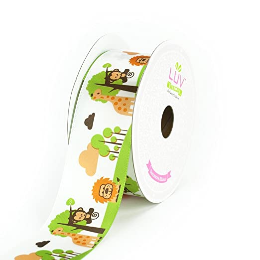 LUV RIBBONS Satin Jungle Theme Ribbon by Creative Ideas, 1-1/2-Inch, White