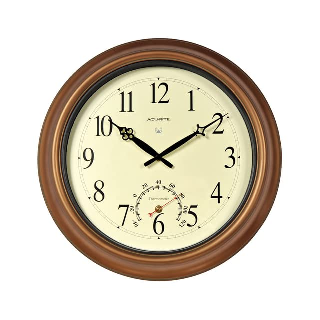 AcuRite 50314 18 Inch Copper Indoor/Outdoor Atomic Clock and Thermometer