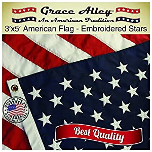 Grace Alley Nylon American Flag with Embroidered Stars and Sewn Stripes, 3 x 5-Feet