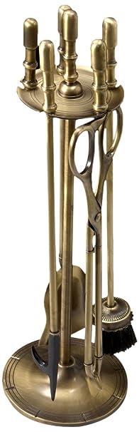 Virtus 1357 - Juego de chimenea lujo, fabricado en bronce, 64 x 20 cm