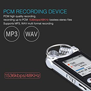 Digital Voice Recorder,32GB Built-in Memory Professional Audio Sound Recorder Dictaphone for Lectures,V3 Voice Activated Recorder with Playback Variable Speed MP3, FM Radio by Milaloko (32gb)