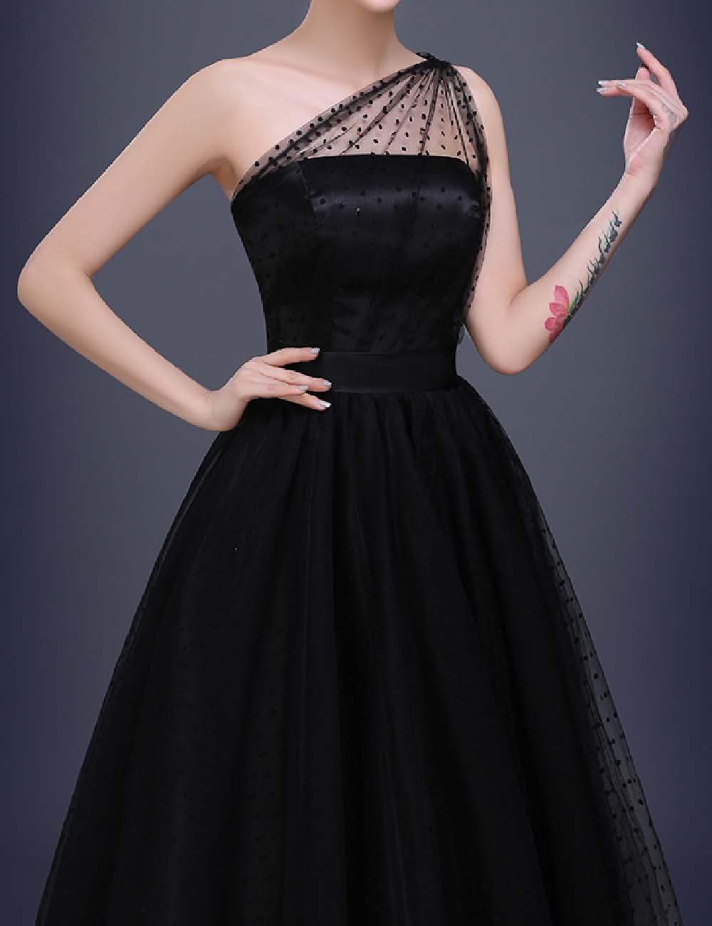 Favors Women's Vintage 50s Tea Length Cockatil One Shoulder Party Dresses WP07 5