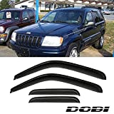 VIOJI 4pcs Dark Smoke Outside Mount Style Sun Rain Guard Vent Shade Window Visors Fit 99-04 Jeep Grand Cherokee WJ