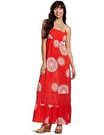 Roxy Juniors Sun Poem Maxi Dress, Orange Print, X-Small