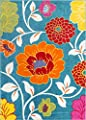 Small Rug Mat Doormat Well Woven Modern Kids Room Kitchen Rug Daisy Flowers Blue Accent Area Rug Entry Way Bright Carpet Bathroom Soft Durable
