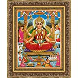 Avercart Goddess Santoshi / Santoshi Maa / Goddess Of Sastisfaction Poster 8.5x11 Inch With Photo Frame (21x28 Cm Framed)