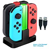Nintendo Switch JoyCon Charger Dock, 4 in 1 Charging Stand LED Status for Nintendo Switch Joy Con