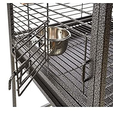 Black Open Top Bird Cage - Has A Bottom Tray That Slides Out So You Can Easily Access The Cage While Cleaning - Tall Design - Suitable for Parrots and African Greys