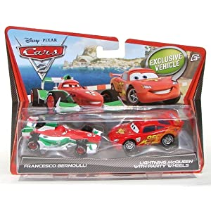 Disney Cars 2 Francesco Bernoulli & Lightning Mcqueen (with Party Wheels) Diecast Vehicle 2-Pack 1:55 Scale