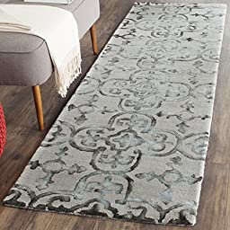 Safavieh Dip Dye Collection DDY711B Handmade Grey and Charcoal Wool Runner, 2 feet 3 inches by 8 feet (2\'3\