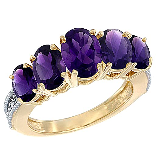 14ct Yellow Gold Natural Amethyst Ring 5-Stone Oval Diamond Accent, sizes J - T