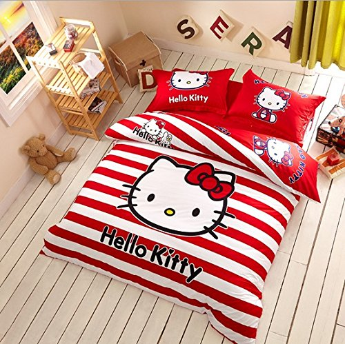 Melife® 4 Pieces Reactive Printing Cute Cartoon Cat Pattern Bedding Set Duvet Cover Sheet Pillow Case Bed-Linen (Style 1) front-971455