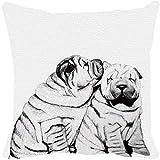 Leaf Designs - Black And White Dog Cushion Cover