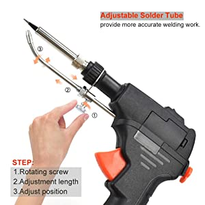 Adjustable-Temp Soldering Gun Kit,NEWACALOX One hands Holding Soldering/Desoldering Send Tin Solder Guns Set for Circuit-Board Welding Repair DIY 60W (Color: Red, Tamaño: Full Size)