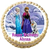 """Frozen Anna Elsa Olaf Edible Frosting Cake Topper - 7.5"""" Round"""