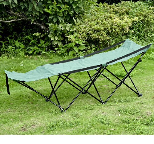 Outsunny Deluxe Folding Camping Cot with Carrying Bag, Green