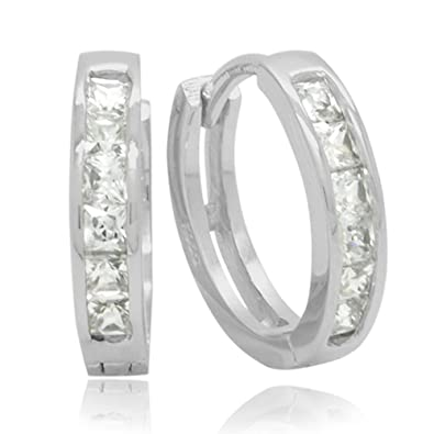 Sterling Silver Cubic Zirconia Channel Princess Square Cut Hoop Earrings (15mm)