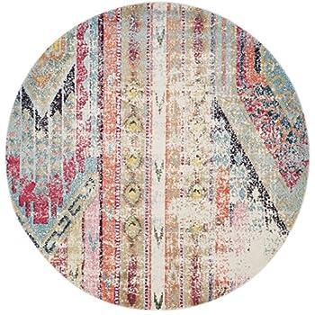 "Safavieh Monaco Collection MNC222F Modern Bohemian Multicolored Distressed Round Area Rug (67"" Diameter)"