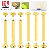 Hilitchi 50-Sets M5 Brass Plated Phillips Chicago Screw Posts Binding Screws Assortment Kit for Scrapbook Photo Albums Binding, Leather Repair - Gold (M5 x 55mm-50Sets) (Color: M5 x 55mm-50Sets)